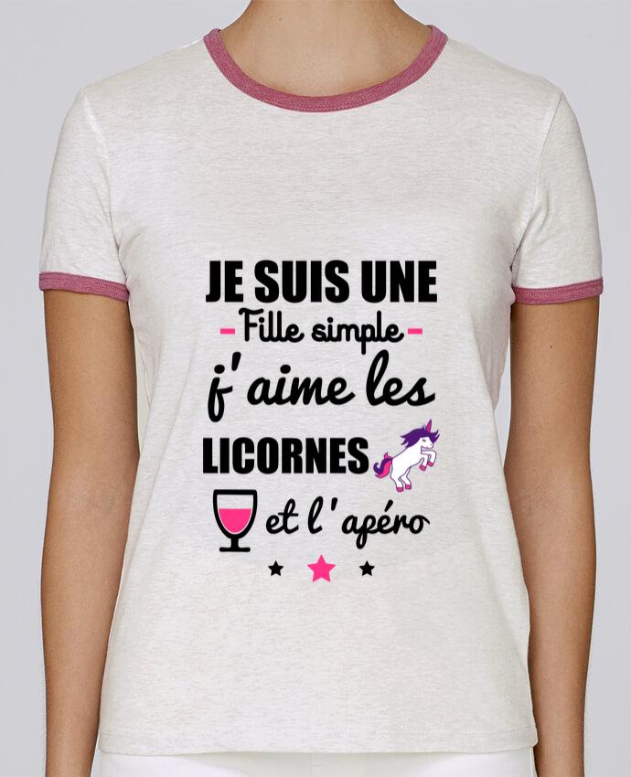 T-shirt Femme Stella Returns Je suis une fille simple, j'aime les licornes et l'apéro pour femme par Benichan