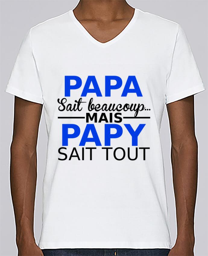 T-shirt Col V Homme Stanley Relaxes papa sait beaucoup... mais papy sait tout par Milie