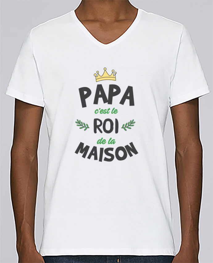 T-shirt Col V Homme Stanley Relaxes Papa c'est le roi de la maison par tunetoo