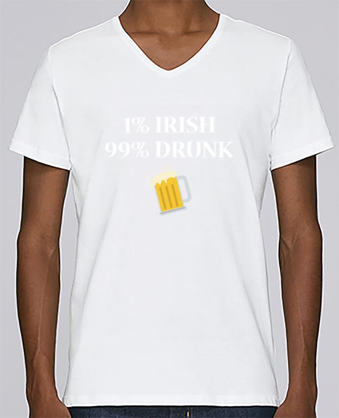 T-shirt Col V Homme Stanley Relaxes 1% Irish 99% Drunk par tunetoo