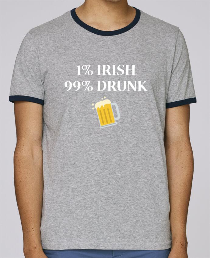 T-Shirt Ringer Contrasté Homme Stanley Holds 1% Irish 99% Drunk pour femme par tunetoo