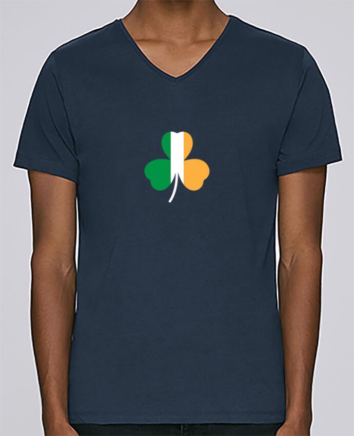 T-shirt Col V Homme Stanley Relaxes Shamrock Irish flag par tunetoo