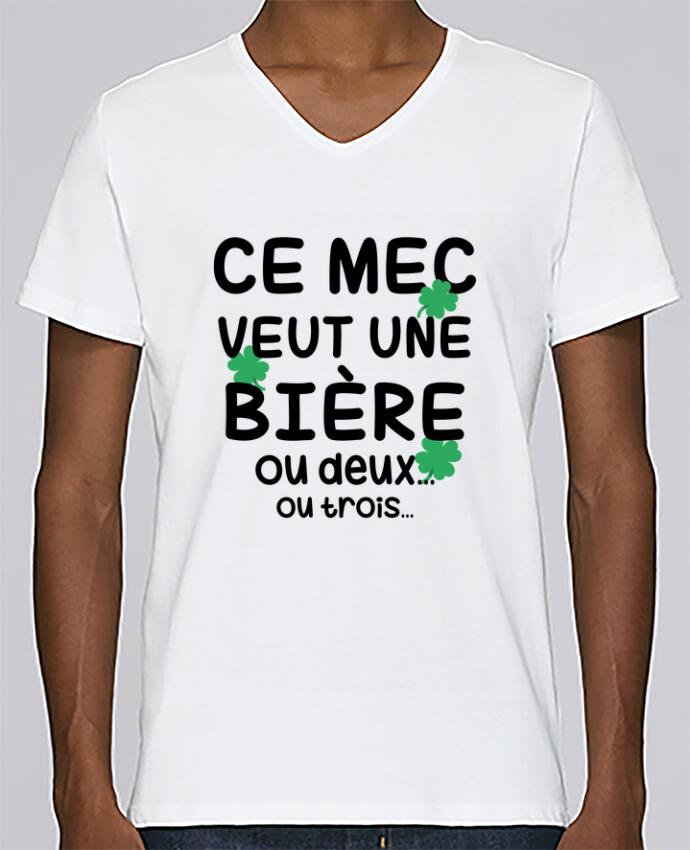T-shirt Col V Homme Stanley Relaxes Ce mec veut une bière ! par tunetoo