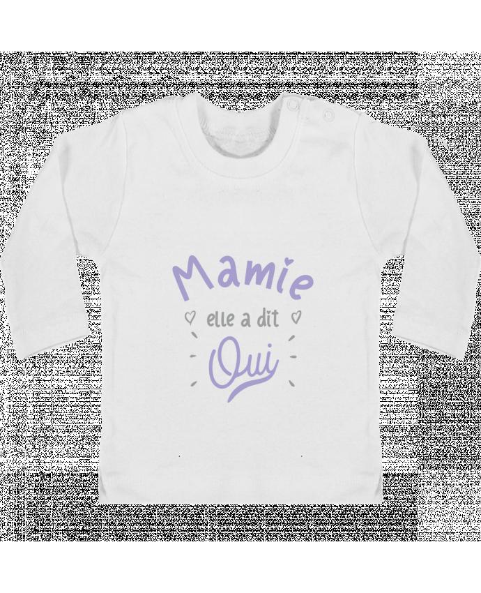 aa3a6f4bc2352 T-shirt Bébé Manches Longues Boutons Pression Mamie elle a dit oui cadeau  naissance bébé