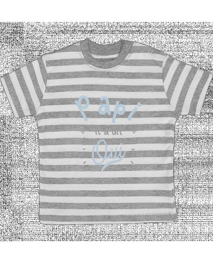 t-shirt bébé à rayures papi il a dit oui naissance cadeau bébé