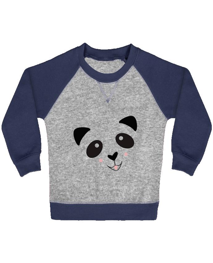 Sweat Shirt Bébé Col Rond Manches Raglan Contrastées Bébé Panda Mignon par K-créatif