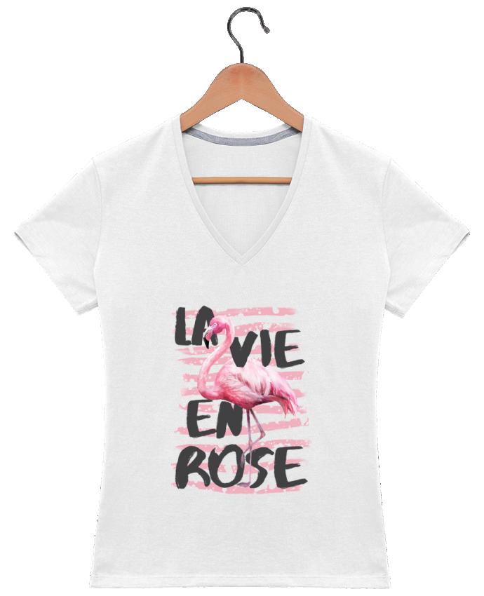 T-shirt Col V Femme 180 gr La vie en rose par tunetoo