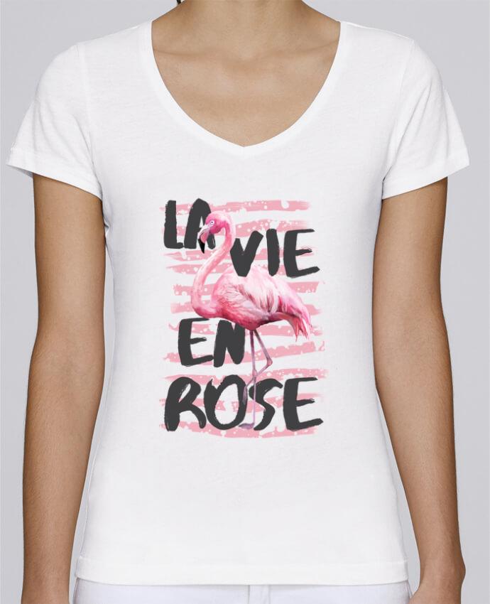 T-shirt Femme Col V Stella Chooses La vie en rose par tunetoo
