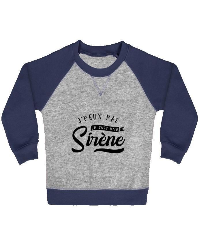 Sweat Shirt Bébé Col Rond Manches Raglan Contrastées Je suis une siréne par Original t-shirt