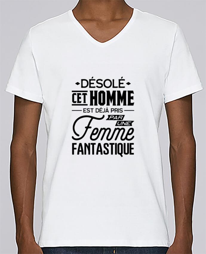 T-shirt Col V Homme Stanley Relaxes Une femme fantastique par Original t-shirt