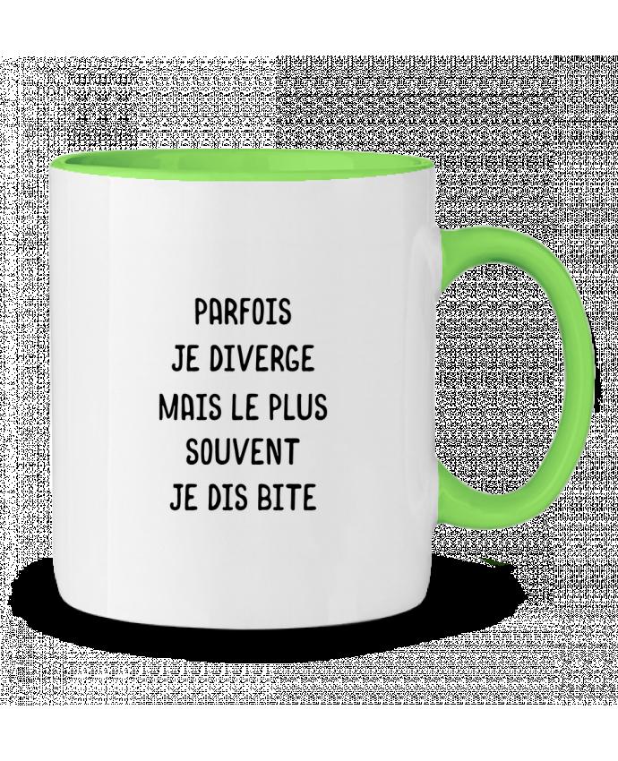 Mug bicolore Parfois je diverge cadeau Original t-shirt