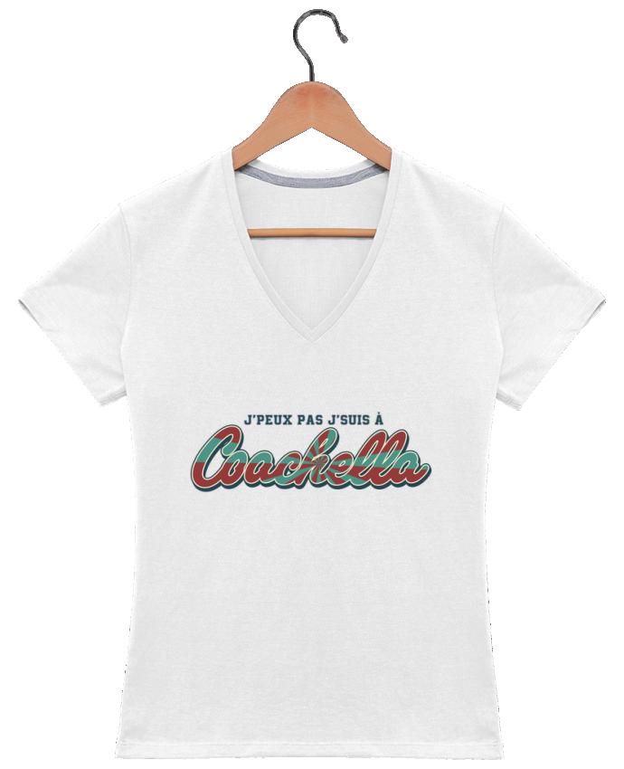 T-shirt Col V Femme 180 gr J'peux pas j'suis à Coachella par tunetoo