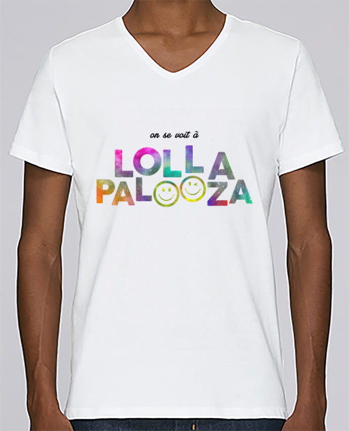 T-shirt Col V Homme Stanley Relaxes On se voit à Lollapalooza par tunetoo