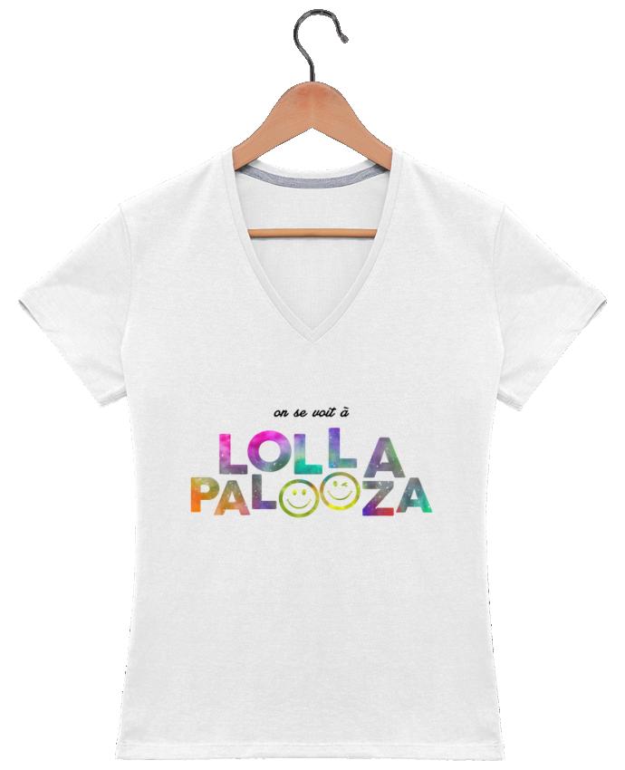 T-shirt Col V Femme 180 gr On se voit à Lollapalooza par tunetoo