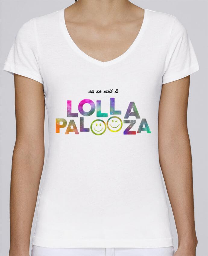 T-shirt Femme Col V Stella Chooses On se voit à Lollapalooza par tunetoo