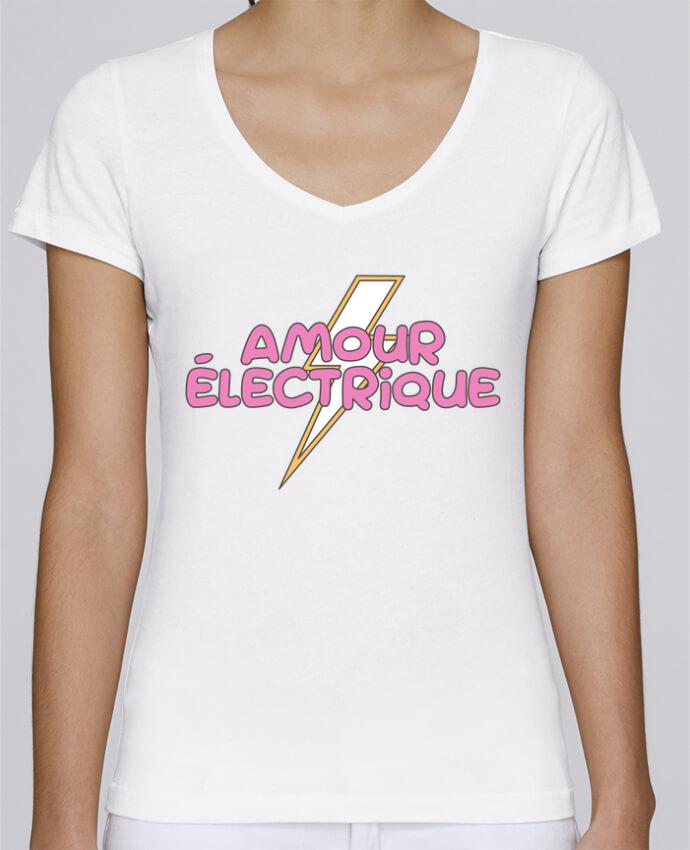 T-shirt Femme Col V Stella Chooses Amour électrique par tunetoo