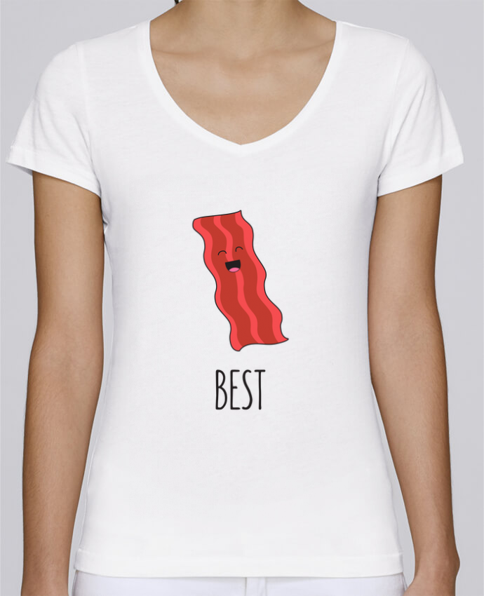 T-shirt Femme Col V Stella Chooses BFF - Bacon and egg 1 par tunetoo