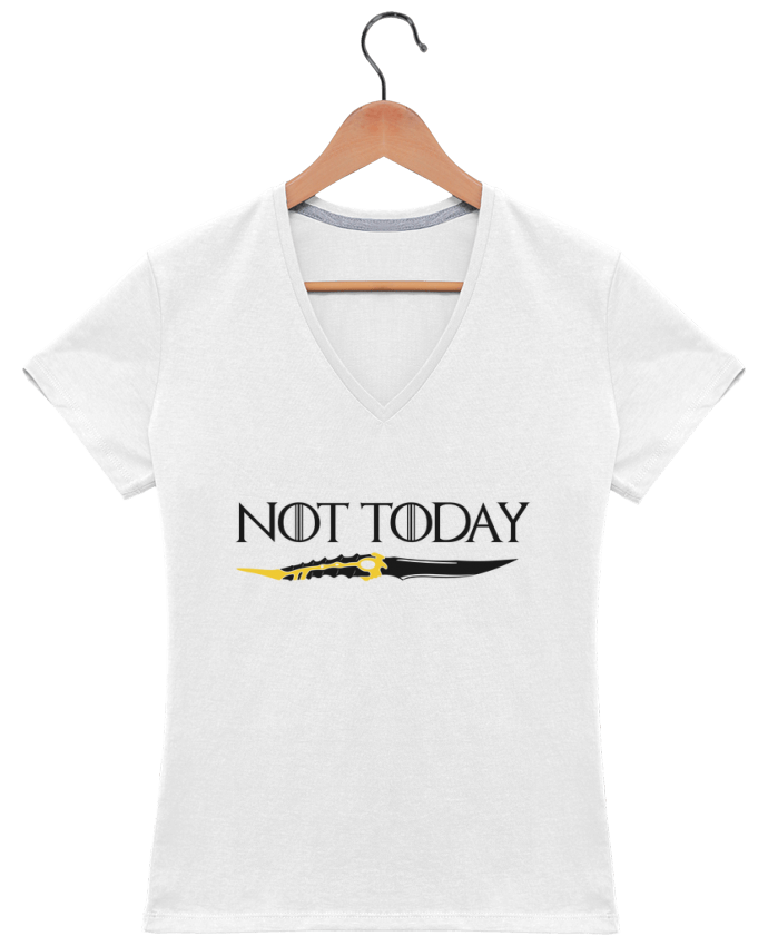 T-shirt Col V Femme 180 gr Not today - Arya Stark par tunetoo