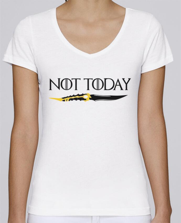 T-shirt Femme Col V Stella Chooses Not today - Arya Stark par tunetoo
