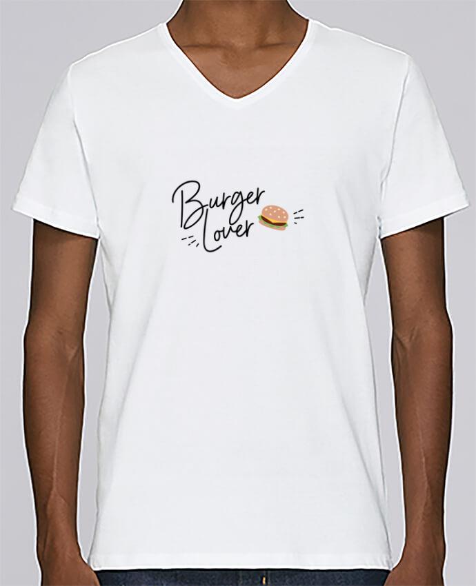 T-shirt Col V Homme Stanley Relaxes Burger Lover par Nana
