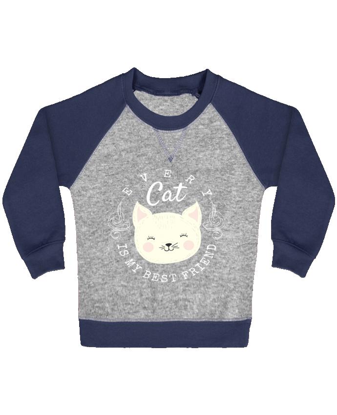 Sweat Shirt Bébé Col Rond Manches Raglan Contrastées every cat is my best friend par livelongdesign