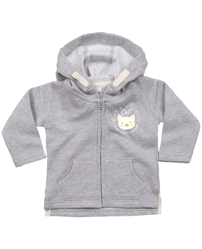 Sweat Bébé Zippé à Capuche every cat is my best friend par livelongdesign