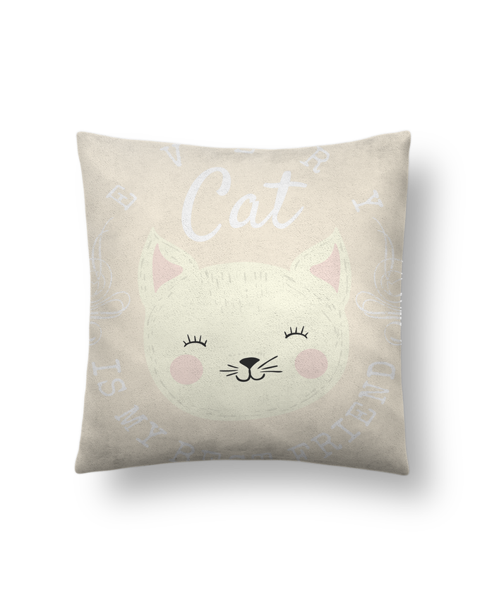 Coussin Toucher Peau de Pêche 41 x 41 cm every cat is my best friend par livelongdesign