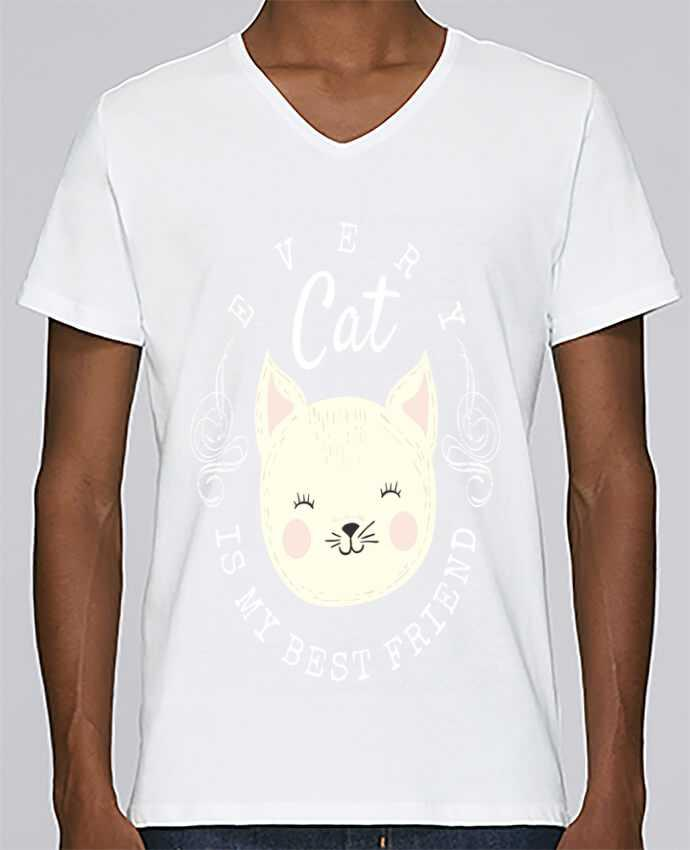T-shirt Col V Homme Stanley Relaxes every cat is my best friend par livelongdesign