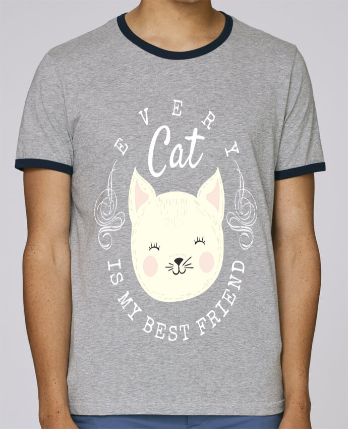 T-Shirt Ringer Contrasté Homme Stanley Holds every cat is my best friend pour femme par livelongdesign