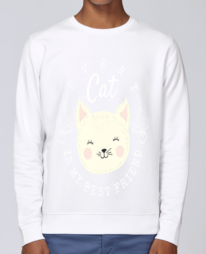 Sweat Col rond Unisex Stanley Stella Rise every cat is my best friend par livelongdesign