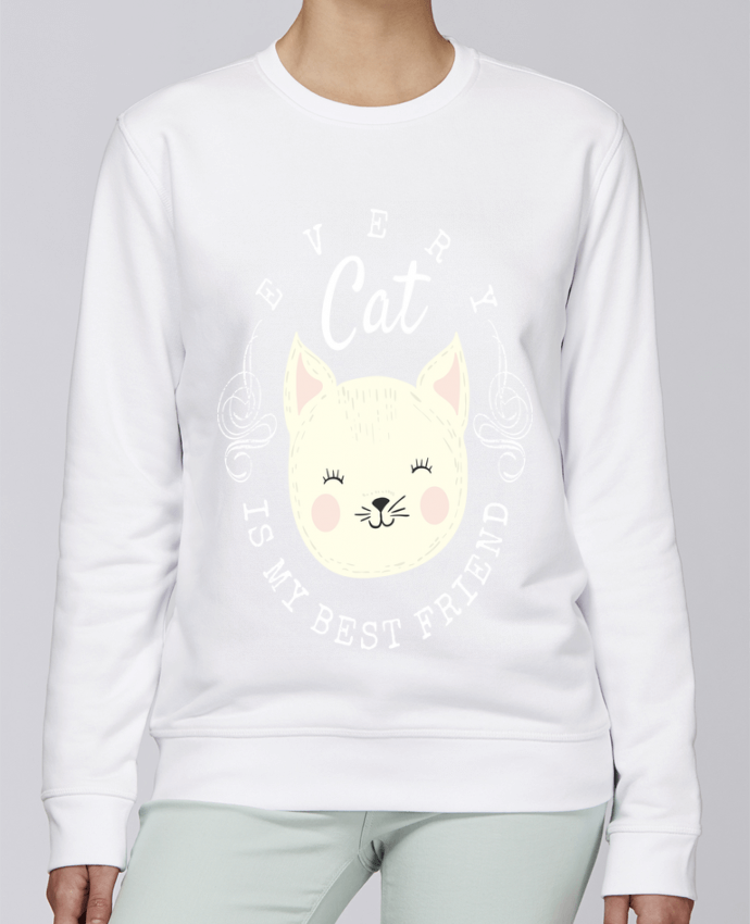 Sweat Col rond Unisexe Stanley Stella Rise every cat is my best friend par livelongdesign
