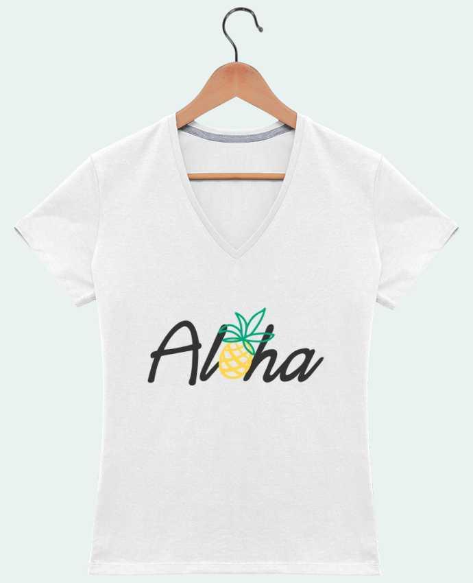 T-shirt Col V Femme 180 gr Aloha par tunetoo