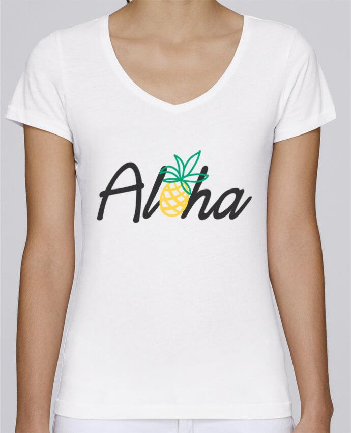 T-shirt Femme Col V Stella Chooses Aloha par tunetoo