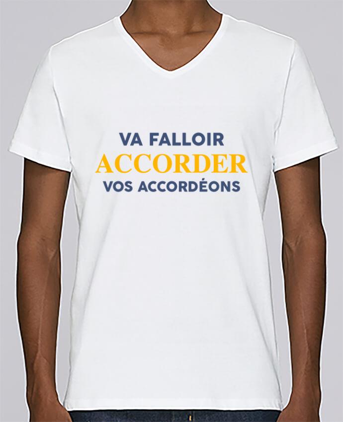 T-shirt Col V Homme Stanley Relaxes Va falloir accorder vos accordéons par tunetoo