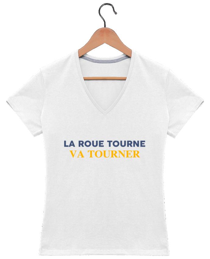 T-shirt Col V Femme 180 gr La roue tourne va vite tourner par tunetoo