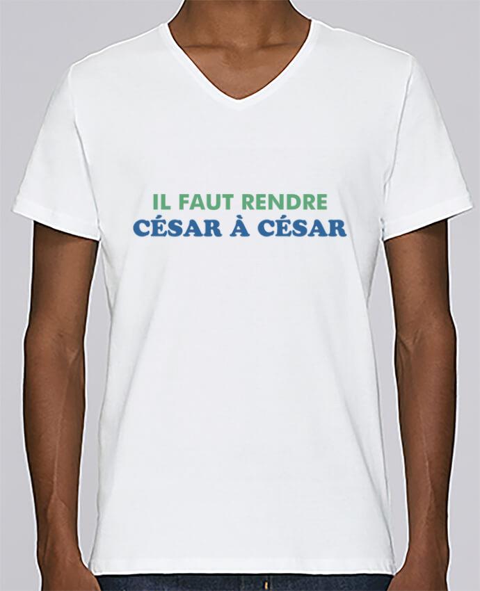 T-shirt Col V Homme Stanley Relaxes Il faut rendre César à César par tunetoo