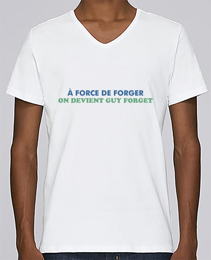 T-shirt Col V Homme Stanley Relaxes A force de forger par tunetoo