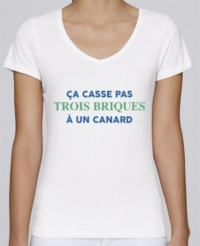 T-shirt Femme Col V Stella Chooses Ça casse pas trois briques par tunetoo