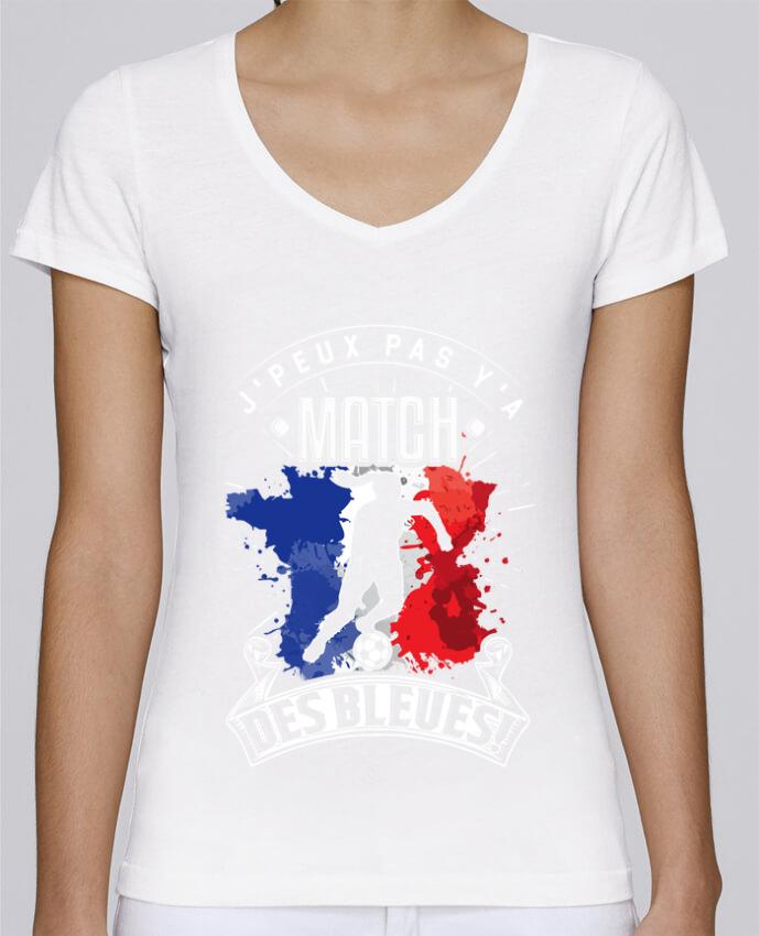 T-shirt Femme Col V Stella Chooses Footballeuse - Equipe de France féminine de football - Coupe du m