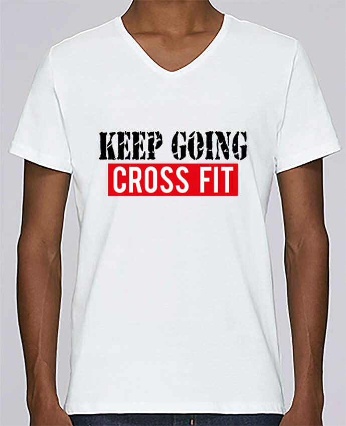 T-shirt Col V Homme Stanley Relaxes Keep going ! Crossfit par tunetoo