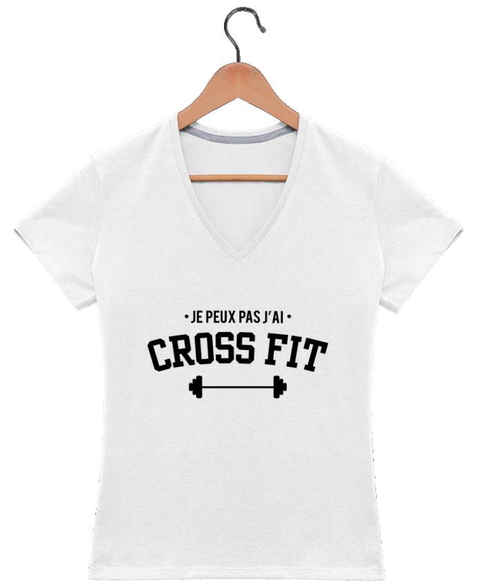T-shirt Col V Femme 180 gr Je peux pas j'ai crossfit par tunetoo