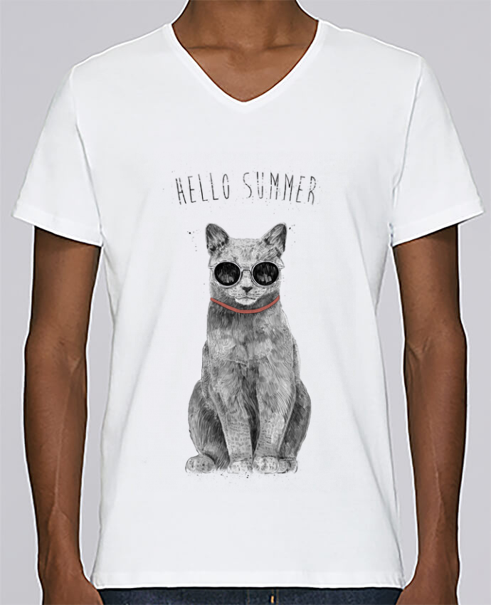 T-shirt Col V Homme Stanley Relaxes Hello Summer par Balàzs Solti