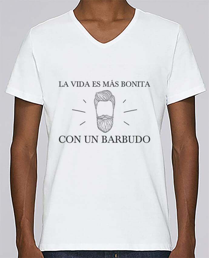 T-shirt Col V Homme Stanley Relaxes La vida es más bonita con un barbudo par tunetoo