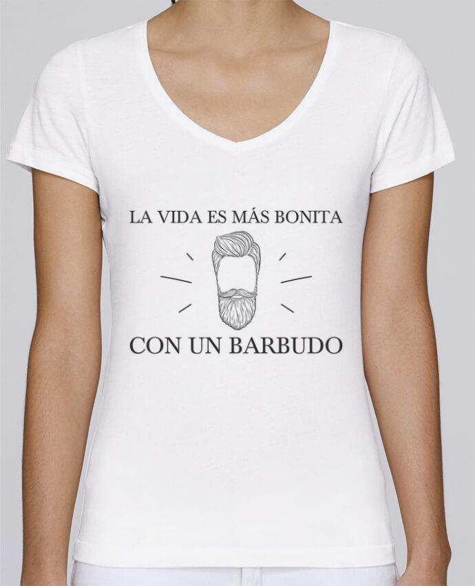 T-shirt Femme Col V Stella Chooses La vida es más bonita con un barbudo par tunetoo