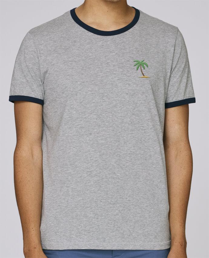 T-Shirt Ringer Contrasté Homme Stanley Holds homme brodé Palm Tree par tunetoo