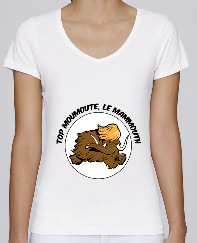 T-shirt Femme Col V Stella Chooses Top Moumoute le Mammouth par Tomi Ax - tomiax.fr