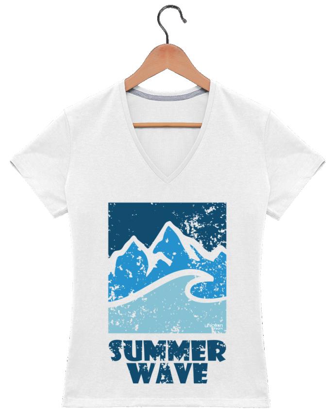 T-shirt Col V Femme 180 gr SummerWAVE-02 par Marie