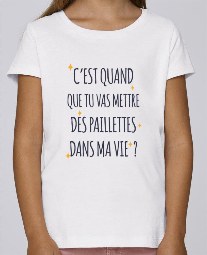 nouveau style c3b13 7a7f2 T-shirt Fille Mini Stella Draws C'est quand que tu vas mettre des  paillettes dans ma vie ? par tunetoo