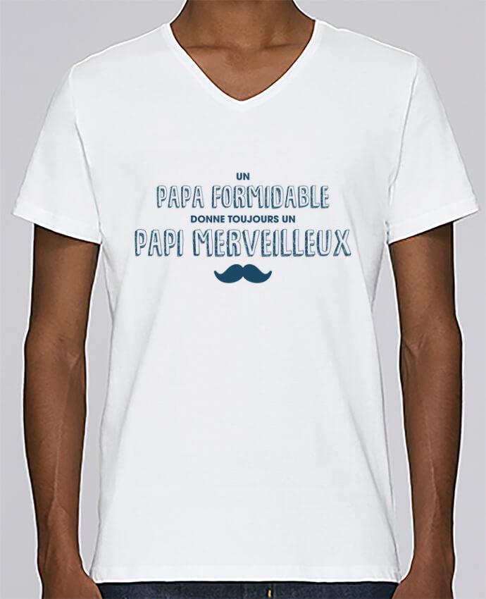 T-shirt Col V Homme Stanley Relaxes Un papa formidable donne toujours un papi merveilleux par tunetoo