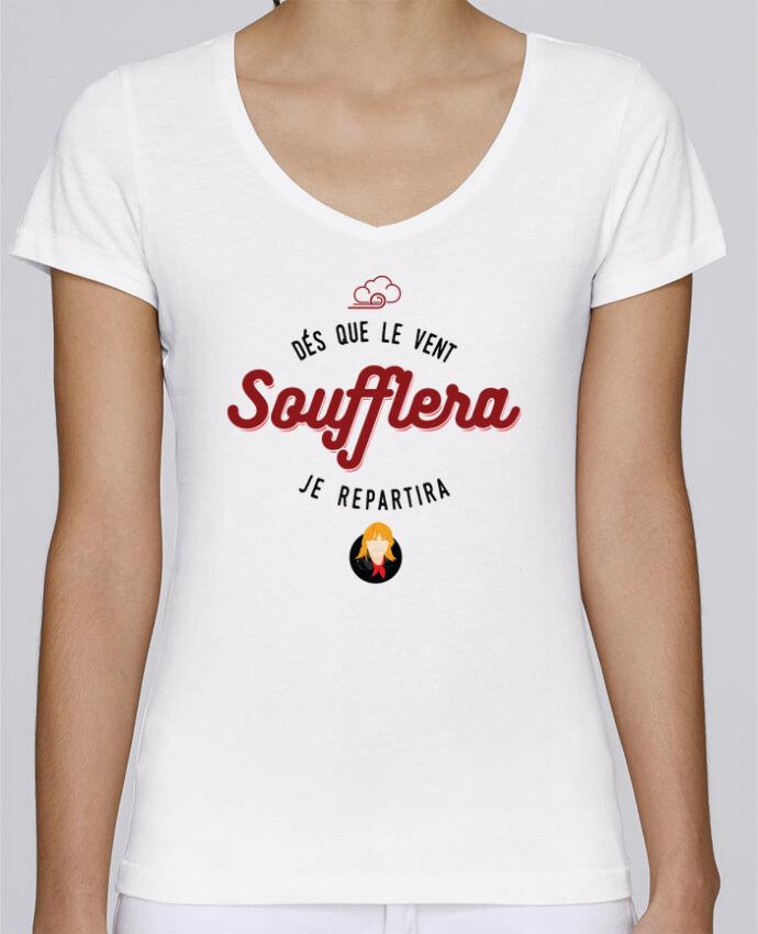 T-shirt Femme Col V Stella Chooses RENAUD DES QUE LE VENT SOUFFLERA JE REPARTIRA par PTIT MYTHO